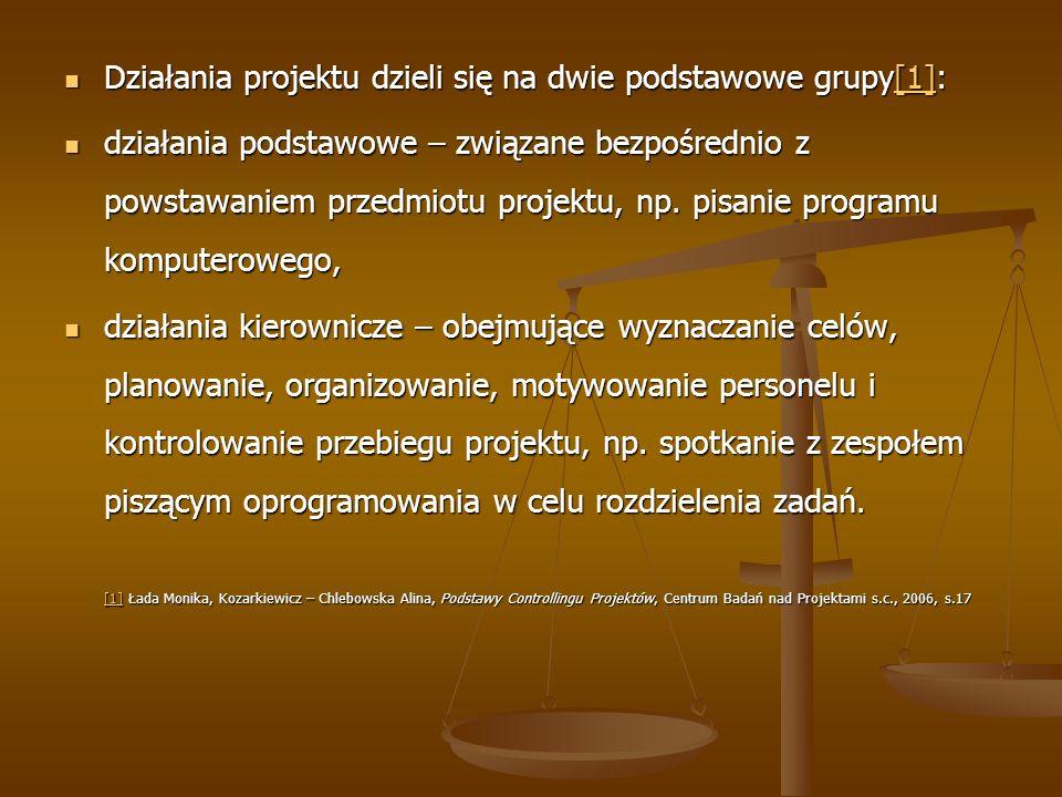 Działania projektu dzieli się na dwie podstawowe grupy[1]: